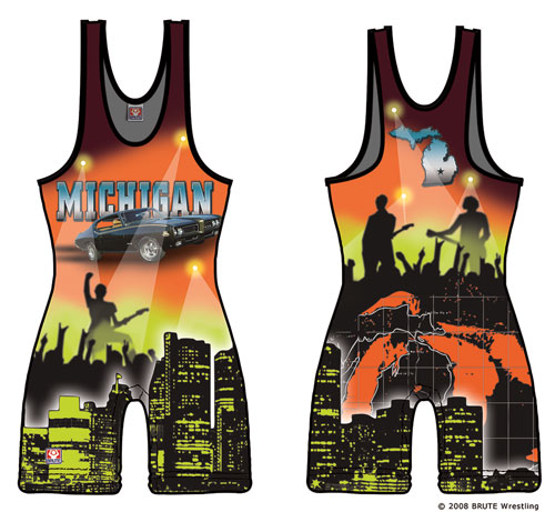Quot Michigan Sublimated Quot Wrestling Singlet